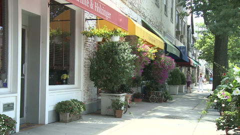 Shops with canopies and potted plants Stock Video Footage