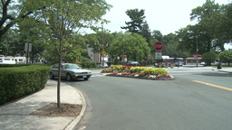 Intersection with flowered median strip Stock Video Footage