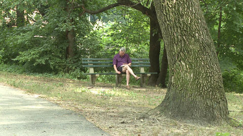 Man sitting on bench in park Stock Video Footage