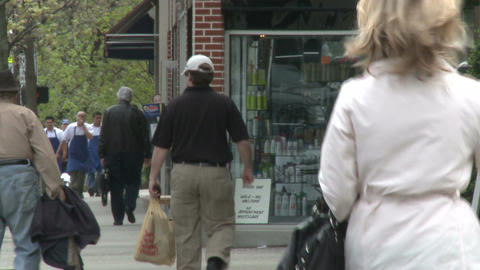 Woman walking down sidewalk (1 of 2) Stock Video Footage