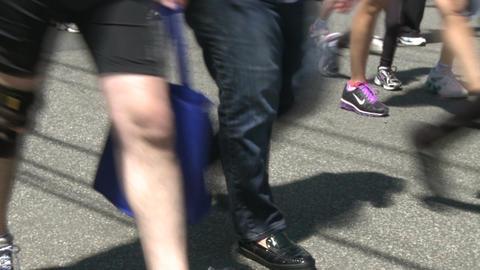 Large marathon crowd (4 of 12) Stock Video Footage