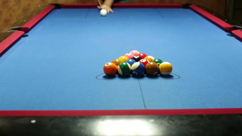 Pool Game Break stock footage