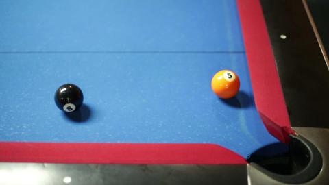 Pool game corner shot sink black close up Stock Video Footage