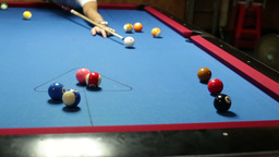Pool game hit brown Stock Video Footage