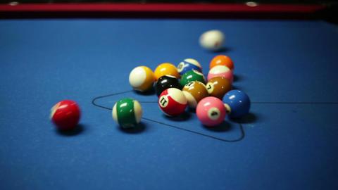 Pool Game Break Side View stock footage