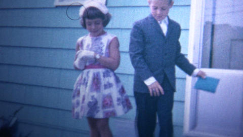 (8mm Vintage) 1966 Dressed Up Children Going To Church Stock Video Footage