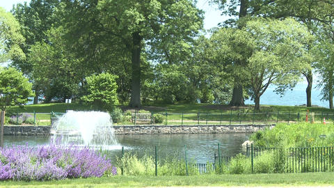 Attractive fountain in center of lake (2 of 3) Stock Video Footage