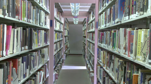 Rows of books on shelves in the library (2 of 3) Footage