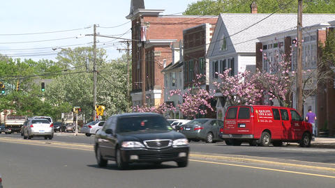 Cars going down Main Street with blooming trees along the road Footage