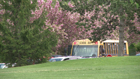 A school bus letting students off in a suburban neighborhood in the spring Footage