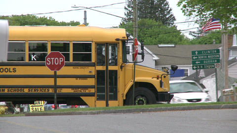 A school bus coming through town on its route (2 of 2) Footage
