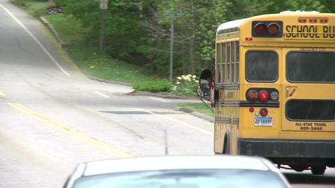 Small school bus traveling on road (1 of 5) Live Action