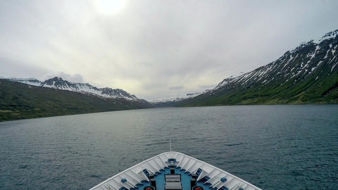 The Ship Sails Into The Fjord stock footage