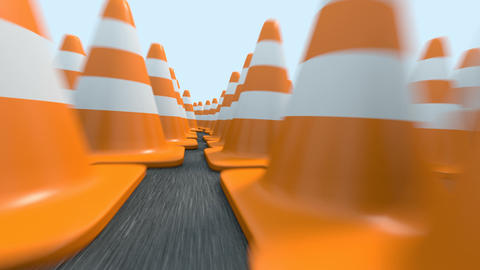 Endless traffic cones flight Animation