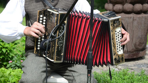 Accordionist man play rural folk music with accordion Footage