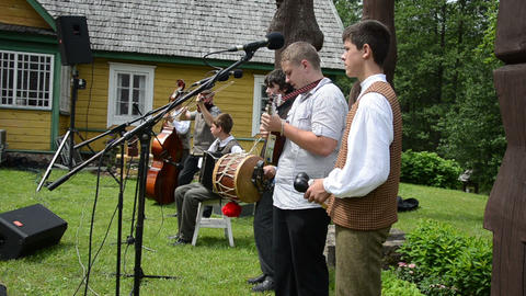 teenagers country band playing live folk music with instruments Footage