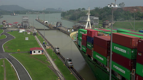 Cargo And Logistics Panama Canal Miraflores Locks 2 stock footage