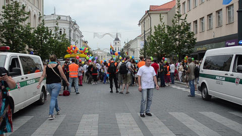 people press and police prepare for Baltic Pride gay parade Footage