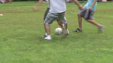 Boys playing soccer in a park at a picnic (7 of 7) Footage
