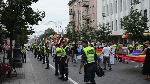police provides urban order and lesbian gay parade marches Footage