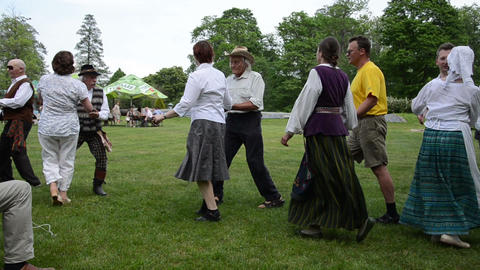 Panorama people dance folk dances in pair and man play accordion Footage