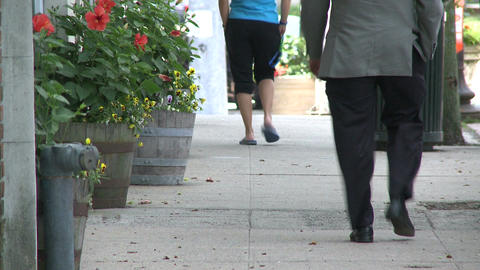 People walking by flowers outside of a store (2 of 4) Footage