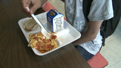 Kids At School Lunch (3 Of 5) stock footage