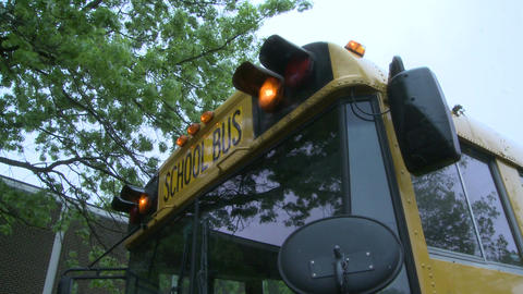 School bus waits for children Footage