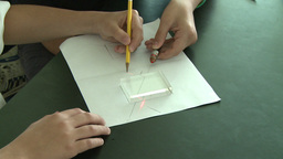 Student Drawing Square On Paper stock footage