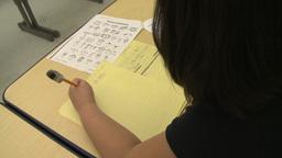 Grammar school students doing work in classroom (2 of 9) Footage