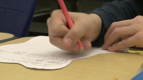 Grammar school students doing work in classroom (4 of 9) Footage