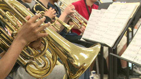 Middle school students practicing in Music Class (2 of 10) Footage