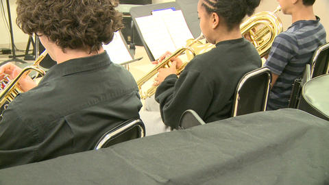 Middle school students practicing in Music Class (7 of 10) Footage