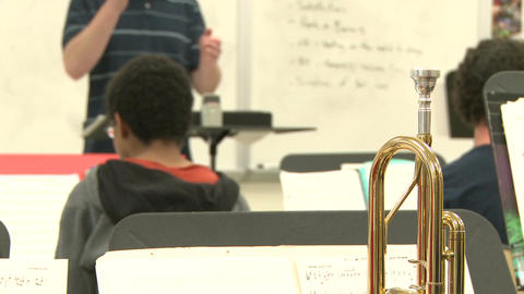 Middle school students practicing in Music Class (4 of 10) Footage