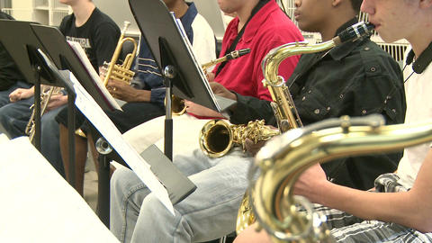 Middle school students practicing in Music Class (10 of 10) Footage