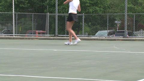 High school girls at tennis practice (2 of 6) Footage