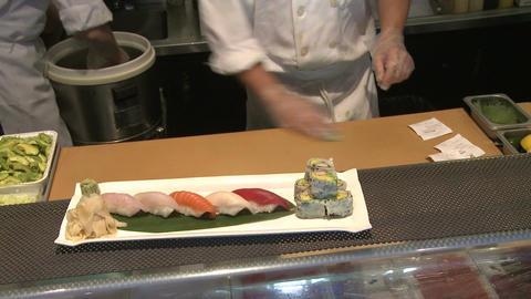 Preparing food at a Sushi bar (2 of 3) Footage