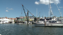 Crane At Marina And Moored Boats stock footage