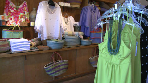 Displayed merchandise in a small clothing store (1 of 2) Footage