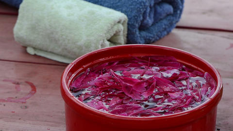 woman throws small petals in bowl immerse your hands in water Footage