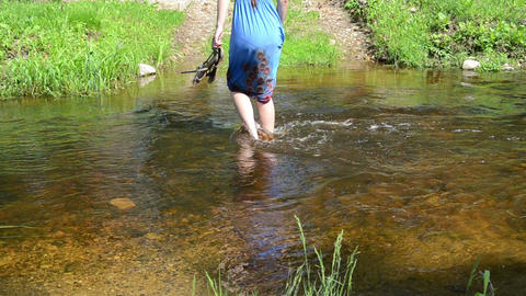girl goes step by step torrential stream easily swings Live Action