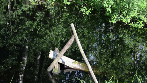 village pond collapsed old wooden small bridge Footage