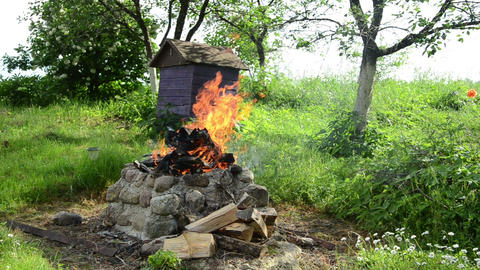 fireplaces ease burn a pile of dry branches Footage