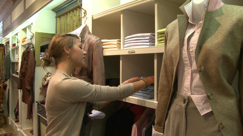 Shopping in a country clothing store (1 of 2) Footage