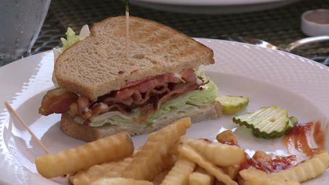 Club sandwich at a Bistro (3 of 4) Footage