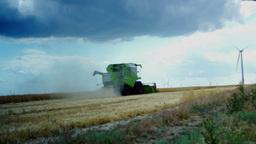 TULCEA, ROMANIA - JUNE 20 2015: Combine Harvester Gathers The Wheat Crop stock footage