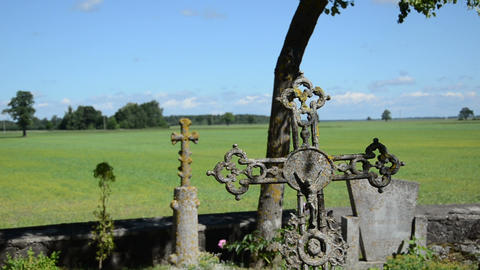 Closeup of retro mossy cross on graves in rural cemetery Footage