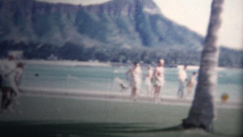 (8mm Vintage) 1955 Honolulu Hawaii Resort View Diamondhead Background stock footage