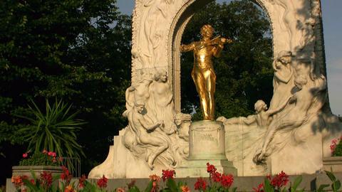 Johann Strauss Monument Vienna Austria Footage