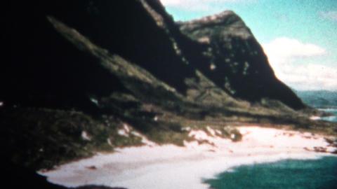 (8mm Vintage) 1955 Hawaiian Native Net Fishing Scene stock footage
